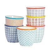 Nicola Spring Macetero de Porcelana Estampado - para Exteriores e Interiores - 6 diseños Diferentes - Pack de 6