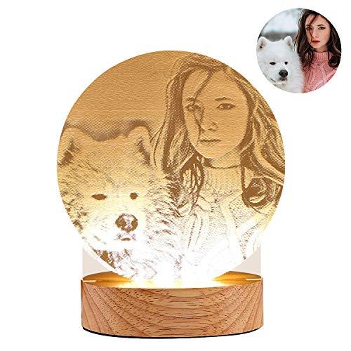 WYBD.Y Tragbare led nachtlichter personalisierte Foto tischlampe Muttertag Vatertag USB Lade Schlafzimmer Schreibtisch dekor für Kinder Erwachsene