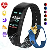 Fitness Tracker, Color Screen Activity Tracker Watch with Blood Pressure Blood Oxygen, IP67 Waterproof Weather Display Smart Band with Heart Rate Sleep Monitor Calorie Counter for (Blue&Black)