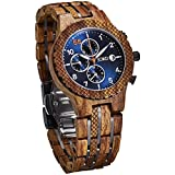 JORD Wooden Wrist Watches for Men - Conway Series Chronograph/Wood and Metal Watch Band/Wood Bezel/Analog Quartz Movement - Includes Wood Watch Box (Kosso & Midnight Blue)