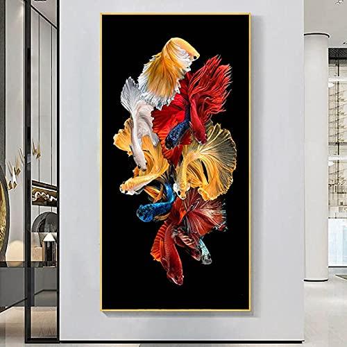 Impresión de arte 60x120 cm sin marco abstracto moderno natación koi peces arte de la pared impresión de carteles pintura sala de estar decoración del hogar pintura