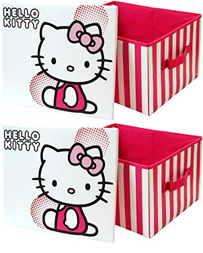 Hello Kitty - Boîte de Rangement pour Jouets Pliant pour Chambre de Fille Crèche Pièce à Jeu x 2