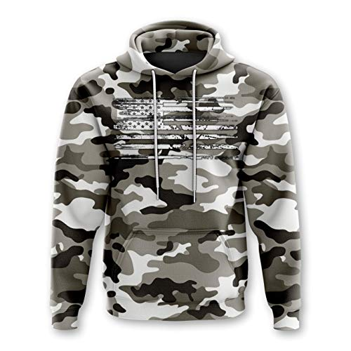 Tactical Pro Supply Army American Camo Flag Hoodie - Cotton Polyester Materials Machine Wash Cold For Men Women Outdoor - Snow Camo (XX-Large)