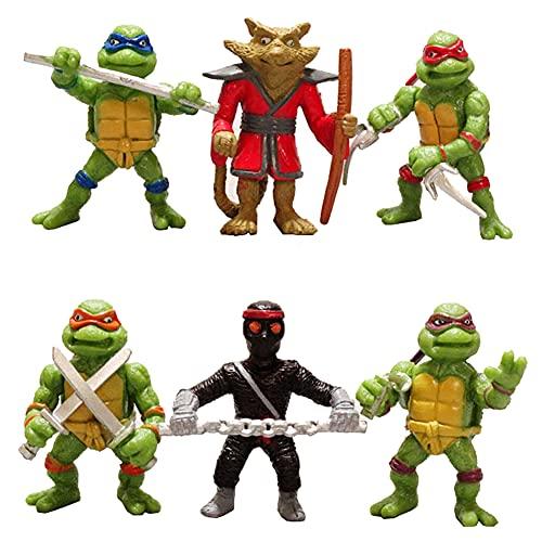 Tortugas Ninja Mutantes Adolescentes, 6Pcs Mini Juego De Figuras Decoración Mutant Ninja Turtle Caricatura Cake Topper Para Baby Shower Fiesta De Cumpleaños Suministros Para Adorno De Torta