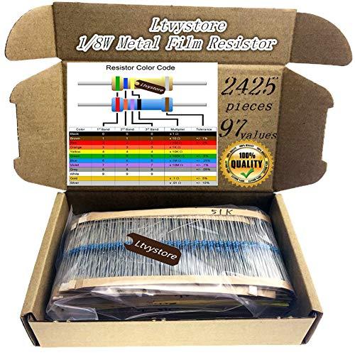 Ltvystore 2425pcs 97 Values 1 ohm - 1M ohm 1/8W Metal Film Resistors Assortment Kit Assorted Set