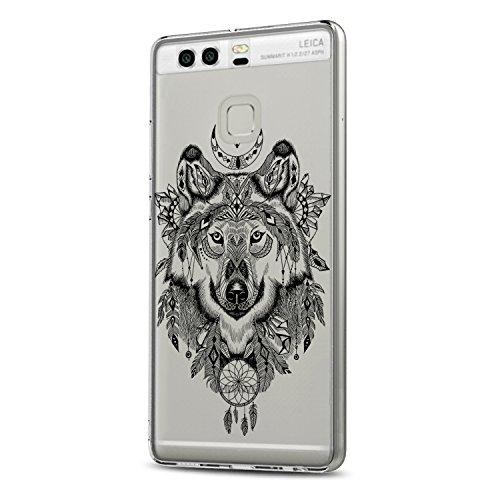 Beryerbi –Funda blanda para Huawei P9transparente TPU Silicona Teléfono Móvil para mujer/chica transparente con bonitas Lobos de colores Teléfono Móvil Silicona Móvil Color-7 Huawei P9