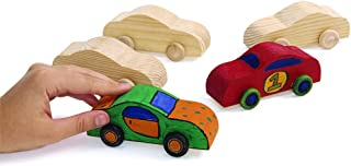 Colorations Wood Rolling DIY Car, Set of 12, Ready to Decorate, Arts & Crafts, Toy, Movement, Racecar, Girls & Boys, Craft Activity, Model Car, Beginner