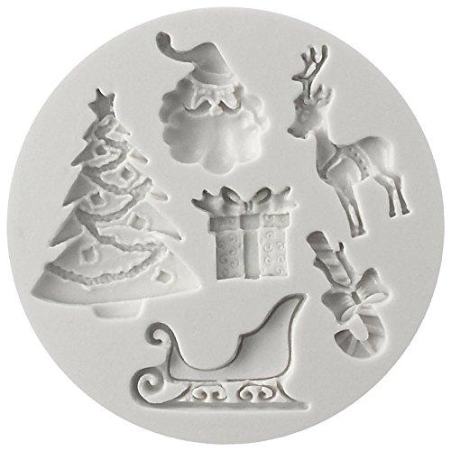 'Santa cruz éssentials' noël moule en silicone, Ustensiles de cuisson Moule Tray Moule à gâteau / sucrerie / Jelly / Glace / Cookie (oël Arbre, Présent, renne, de sucre de canne, le Père Noël)