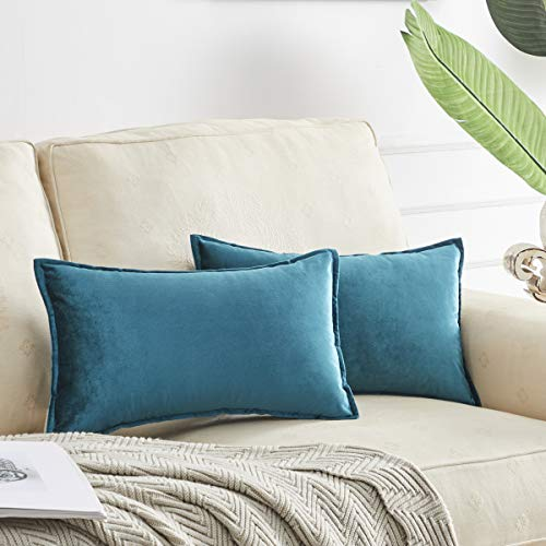 OMMATO Fundas de cojín de 30 cm x 50 cm de terciopelo rectangular decorativas para sofá, sala de estar de 30 cm x 50 cm, paquete de 2 unidades, color azul pavo real