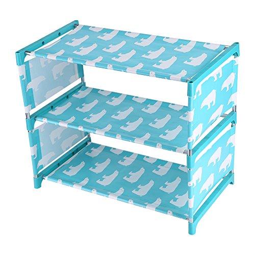 Estante para Zapatos/Estante de Almacenamiento de 3 Niveles, gabinete para Zapatos de Entrada de Tela no Tejida Impermeable a Prueba de Polvo con Lindo diseño de Oso Polar(Azul)