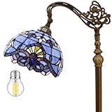 Tiffany Style Reading Floor Lamp Lighting W12H64 Inch(LED Bulb Included)Blue Purple Stained Glass Lavender Baroque Lampshade Antique Base S003C WERFACTORY Lamps Living Room Bedroom Beside Table Gifts