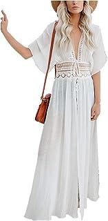 AiJump Kimono voor dames, knielengte, strandjurk, lang, zomerjurk, bikini, cover-up