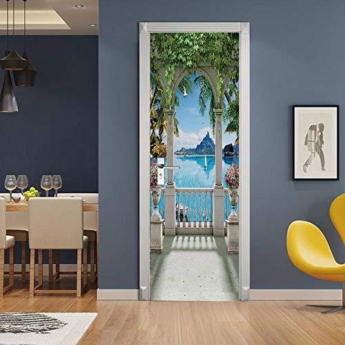 Etiqueta engomada de la puerta del balcón 3D, calcomanías murales de PVC para la decoración del hogar del arte 30.3x78.7 (77x200cm)