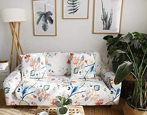 Protector de sofá con Estampado,Fundas de Sofá Elasticas de 4 Plazas,Poliéster Suave con Funda elástica,Antideslizante Protector Cubierta de Muebles,Flor Rosa Azul