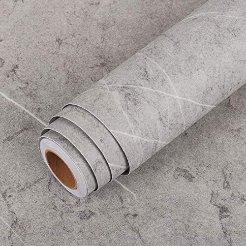 LaCheery 15.8'x80' Extra Thick Gray Concrete Wallpaper Stick and Peel Marble Countertop Contact Paper Decorative Self Adhesive Wall Paper Roll Peel and Stick Cement Contact Paper Grey Wall Backdrop