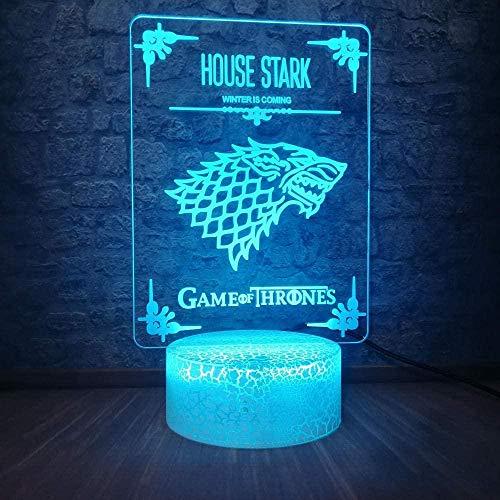 ADIS Lámpara de ilusión 3D Lámpara de Noche LED Casa Stark Juego de Tronos Lobo Acrílico Multicolor USB Lámpara de Escritorio táctil Cumpleaños Infantil Lámpara para Dormir