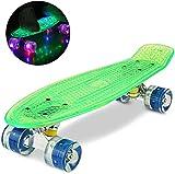 WeSkate Cruiser - Monopatín completo con mini monopatín, 22 pulgadas, 55 cm, Penny Board con ruedas de poliuretano LED, rodamientos ABEC-7, regalo para adultos, adolescentes y niños, Verde+Blu