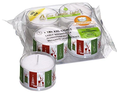 Smart Planet® Kerzen Ambiente - 4 große ECO Teelichter XXL in Transparenter Hülle mit Weihnachts Motiv Bäumchen Rot Grün Nachfüllbar 18 Std Brenndauer