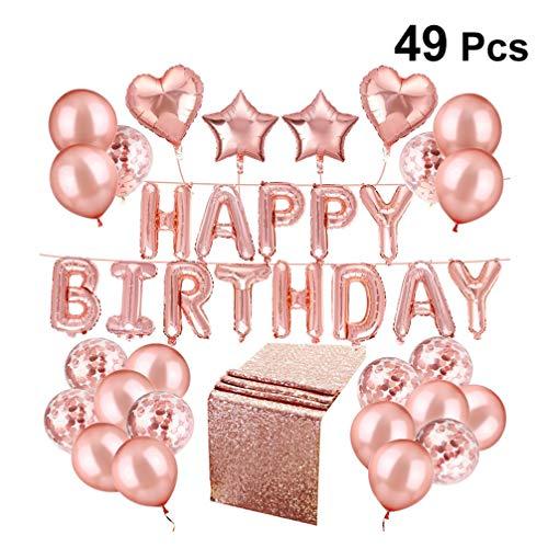 Amosfun 49STKS Gelukkige Verjaardag Ballonnen Rose Goud Latex Confetti Ballonnen Glitter Tafel Runner Hartfolie Ballonnen op een String Verjaardag Feestdecoratie benodigdheden