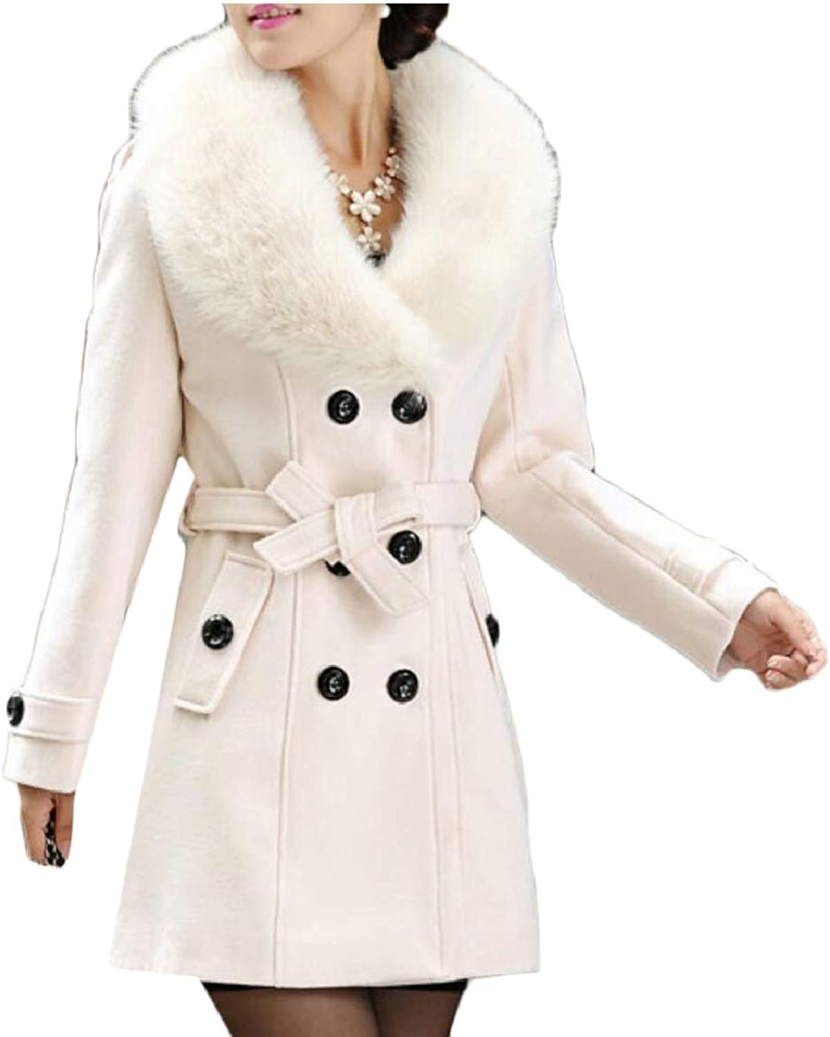SmeilingCA Womens DoubleBreasted Slim Faux Fur Collar Wool Coat Overcoat