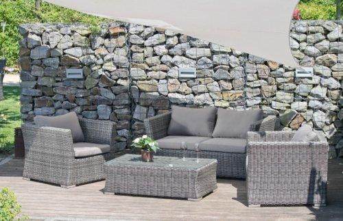 Vamundo Ensemble de Jardin Lounge canapé 2, Table, fauteuils de Jardin avec Coussins en rotin Gris foncé