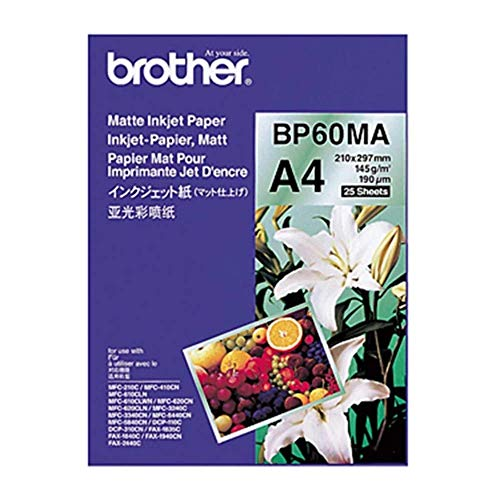 Brother Brother BP60MA Inkjet Papier, A4, matt, 297 mm (B) x 210 mm (L), 25 Blatt, Originalbedarf