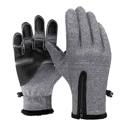 A/B Touchscreen Handschuhe Herren Damen fur Winter,Mit Reißverschluss verstellbar Warme Outdoor Sport Gloves mit Fleecefutter Winddichte rutschfeste für Laufen Fahren Radfahren Fahrrad Wandern