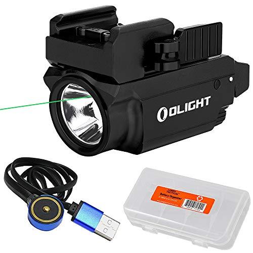 Olight Baldr Mini Black 600 Lumen Rail Mount Tactical Flashlight Green Laser Sight Combo with LumenTac Organizer