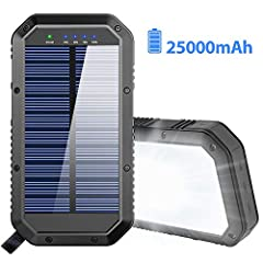 【25000mAh Ultra High Capacity Solar Charger】The solar panel charger built-in 25000mAh Li-polymer battery, it's enough to charge an iPhone XS for 7.4 times, a Galaxy S9 Plus for 5.7 times, an iPad Pro for 1.6 times! 【Two Charging Methods】The portable ...