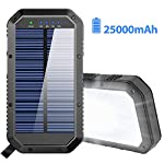 Solar Charger, 25000mAh Battery Solar Power Bank Portable Panel Charger with 36 LEDs and 3 USB Output Ports External Backup Battery for Camping Outdoor for iOS Android (Black) 11 【25000mAh Ultra High Capacity Solar Charger】The solar panel charger built-in 25000mAh Li-polymer battery, it's enough to charge an iPhone XS for 7.4 times, a Galaxy S9 Plus for 5.7 times, an iPad Pro for 1.6 times! 【Two Charging Methods】The Solar charger powerd by 5V/2A adapter(Not included) or solar. The blue indicator light is on when charging with the adapter, and the green indicator light is on when charging with solar panel. 【3-USB Ports for Charger】The solar charging powerbank has three USB ports that can charge three devices at the same time, which is convenient for yourself and your friends.