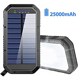 Solar Power Bank 25000mAh, 36 LEDs Emergency Portable Solar Battery Charger with 3 Output Ports External Battery Pack… 1 📱🔋【25000mAh Ultra High Capacity Solar Battery Charger】The solar charger built-in rechargeable 25000mAh Li-polymer battery pack, more than portable solar power bank but portable charger as well compatible with all smartphones, iPhone, more etc, it's enough to charge an iPhone 12 Pro for 8 times, Galaxy S9 for 8 times, iPad Pro 2020 for 3 times! 🌞🔋【DC Power+Solar Power】The portable power bank can be powerd by 5V/2A adapter(not included) or solar power. The blue indicators light will turn on when charging via DC adapter, which needs 13 hours to full charged, and the green indicator light will turn on when charging via solar panel,which needs long-term storage for emergency use. 🧗♀️🔋【3 in 1 Smart Charger】Equipped dual 5V 2.1A+5V 1A USB outputs allow you to fast charge THREE devices simultaneously, the solar powered charger has 3 stable output ports, provide intelligent security protection, avoid over current, over voltage, over load and short circuit, etc. The outdoor solar battery charger is an ideal choice for hiking, camping trips or other Phone Charger solar outdoor activities.