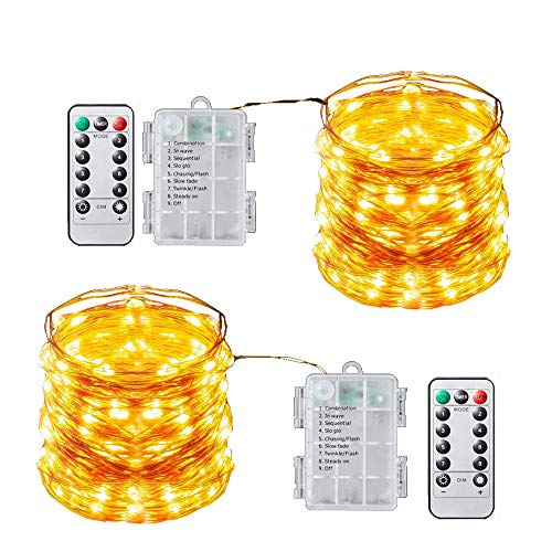 BLATOMY 2 Pack Copper Wire String Lights, 10m 100 LED Starry Fairy Light with 8 Modes Remote Control, Battery Powered Waterproof Christmas Lights for Bedroom Photo Decoration Warm White