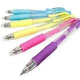 Pilot G-2 Pastel Retractable Rollerball Pen – 0.7mm – Pack of 6 – 2 x Yellow, 2 x Light Blue, 1 x Purple, 1 x Pink