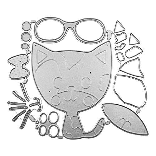 COLUDOR Katze Mit Brille Stanzformen Schablone Scrapbooking DIY Album Stempel Papier Art