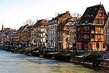 zhangshifa Puzzles 1000 Pieces,France Strasbourg Bâtiments Rivières Canal Hiver Jigsaws Puzzle Paysage Naturel,Jeu De Puzzle pour Enfants Adultes-75 * 50Cm(Puzzle De Peinture)