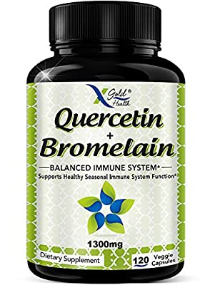 Quercetin with Bromelain Supplement: 1000mg Quercetin with 300mg Bromelain Supplements for Improved Cardiovascular Health, Immune Function and Allergy Support - 120 Vegetarian Capsules
