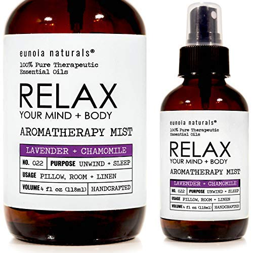 Relax- Lavender + Chamomile Mist, Lavender Spray, 100% Natural, Free 30 Minute Sleep Audio, Lavender Aromatherapy Mist, Lavender Sleep Spray, Calming Lavender Essential Oil, Relax Mist, 4oz