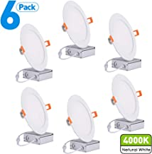 18W 8 Inch Recessed Ceiling Light with Junction Box,1500Lm 4000K Cool White CRI80+ Slim Panel Light, Damp Location, UL Certified, Pack of 6 by JARLSTAR