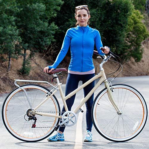 """sixthreezero Explore Your Range Women's 7-Speed Hybrid Commuter Bicycle, Cream, 17"""" Frame/700x38c Wheels"""