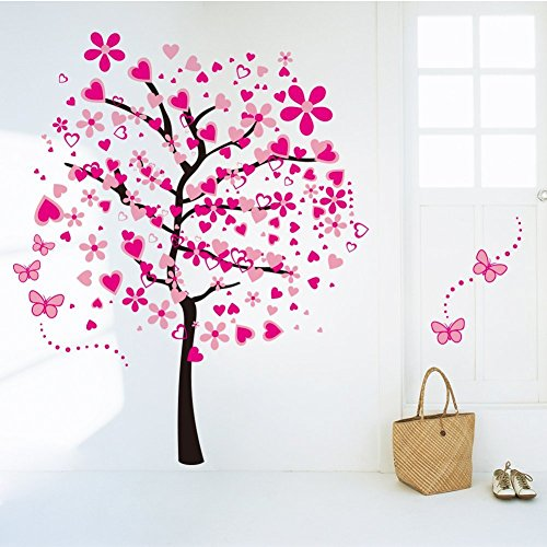 Amaonm Cartoon Pink Heart Peach Tree Wall Decals Butterfly Flowers Wall Decor Decorative Painting Supplies Wall Treatments for Girls Kids Living Room Bedroom Offices Classroom