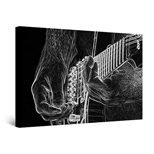 Startonight Cuadro Moderno en Lienzo Guitarra Blanco y Negro, Pintura Música Para Salon Decoración 60 x 90 cm