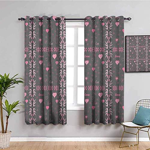 N / A Skuggning isolerad gardin rosa och grå vårfjärilar blomma löv snygg inspiration säsong koncept kolgrå rosa tryck glidgardiner för uteplats dekor