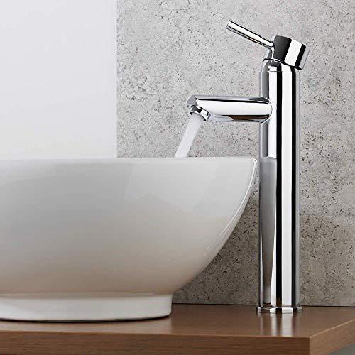 WOOHSE Waschtischarmatur Hoch, Wasserhahn Bad aus Messing, Mischbatterie Waschbecken Chrom mit Kaltes und Heißes Wasser, DVGW geprüft, Einhebelmischer für Badezimmer