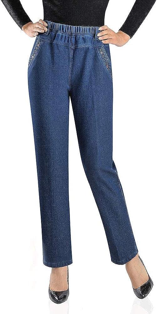 Arlita Women's Fleece Lined Relaxed Leg Jean De Elastic Tucson free shipping Mall Straight
