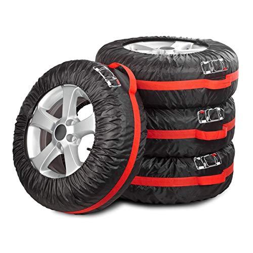 Navaris Auto Reifen Reifentaschen Set - für 13-17 Zoll große Autoreifen - mit Reifenposition Aufdruck und Griff - 4X Reifentasche in Schwarz Rot