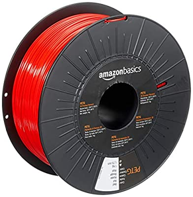 AmazonBasics PETG 3D Printer Filament, 1.75mm, Red, 1 kg Spool