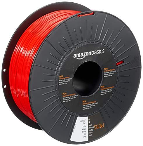 Amazon Basics - Filamento para impresora 3D, tereftalato de polietileno (PETG), 1,75 mm, cinta de 1 kg, rojo