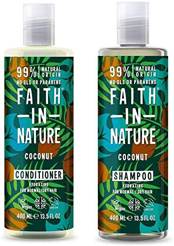 Faith In Nature Coconut Shampoo 400ml and Conditioner 400ml Duo | Vegan | No Parabens & Cruelty Free