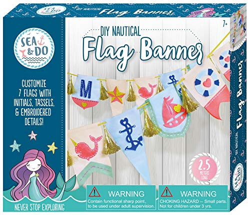 Sea & Do DIY Nautical Flag Banner Sewing Kit for Tweens by Bright Stripes - Beginner Sewing and Embroidery Kit for Kids Ages 7 and Up