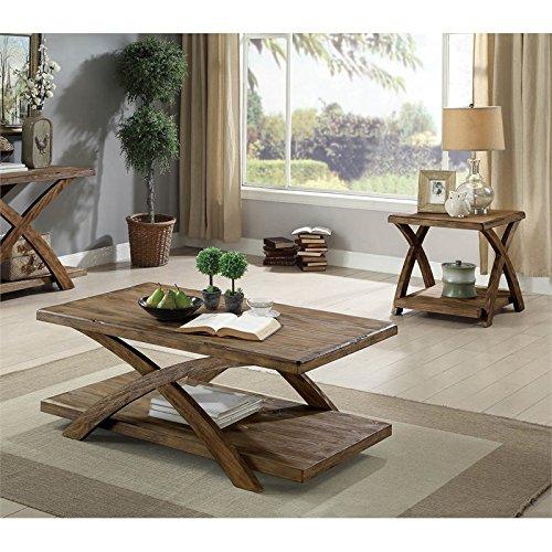Furniture of America Pederson Rustic 3-Piece Wood Coffee Table Set in Oak
